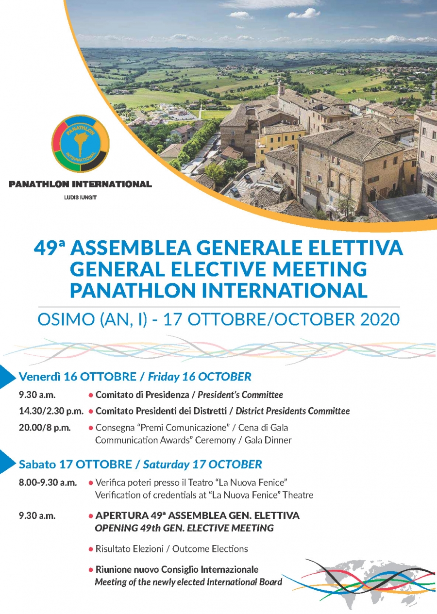 49th Elective General Meeting - Panathlon International - Meeting with Zoom -Saturday, October 17, 2020